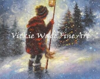 Boy Snow ORIGINAL Painting 12X16, little boy, lamp light, christmas tree, snow paintings, snow children, snow kids, Vickie Wade Art