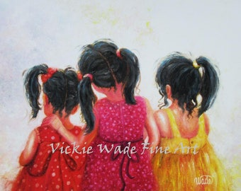 Three Sisters Art Print, three asian girls, three black haired girls, three asian sisters, painting, mother's day gift, Vickie Wade art