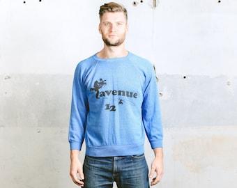 80s Mens Sweatshirt . Vintage 1990s Blue Retro Graphic Printed Sports Sweater Casual Sportswear . size Medium