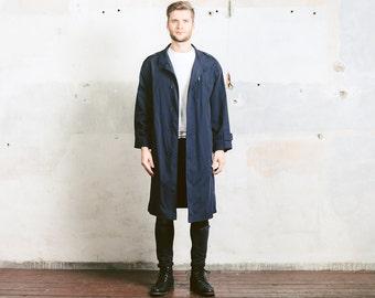 Vintage SPRING COAT . size Large L . Men's Long Jacket Mac Coat Duster Coat Vintage 1970s Minimalist Coat