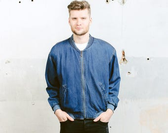 Vintage 80s Denim Jacket . Mens 1980s Blue Bomber Jacket Zip Up Jeans Jacket Outerwear Knit Collar . size Large L