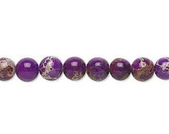 6mm violet magnesite gemstone beads (16-inch strand)