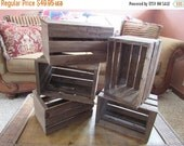 ON SALE wooden crates 5  wood wedding reception centerpiece rustic planter box vases barn country wedding decorations