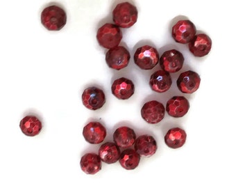 Czech Glass Beads Ruby Red Faceted Round Spacer 4x3mm Fire Polished Tiny #31K