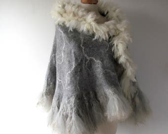 Felted alpaca poncho Felted scarf Alpaca Women scarf Grey shawl alpaca wrap natural fur wrap felted wrap alpaca wool cape Galafilc