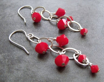 Siam Red Swarovski Elements Crystal Sterling Silver Long Dangle Earrings