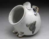 Ceramic Salt Pig - Pig Jar - Salt Cellar - White with Black Spots