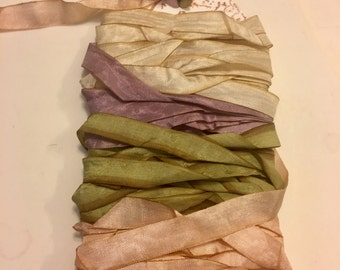 crinkle seam binding pink green cream tea dyed plum rayon ribbon  hand dyed ribbon trim Supplies Handmade  1246
