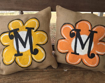 Flower Pillow with natural Burlap Background choose your color flower and choose your Initial