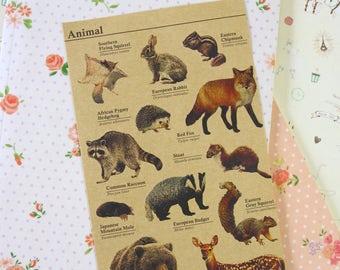 Animal cartoon deco Kraft Stickers