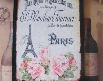 Eiffel Tower Decor Sign, Pink Roses, Shabby Chic French Country, Wall Decor,