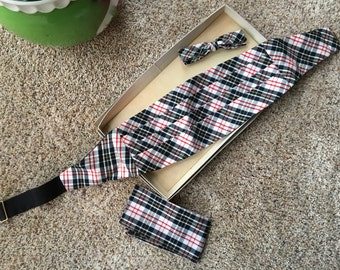 SALE! Plaid CUMERBUND Set Bow Tie Handkerchief Cummerbund Sz Small Tuxedo Cumberbun Formal Cruise