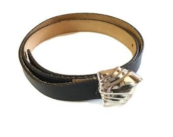 Vintage Pierre Cardin Belt / Paris / Navy Blue Skinny Leather Belt / Large