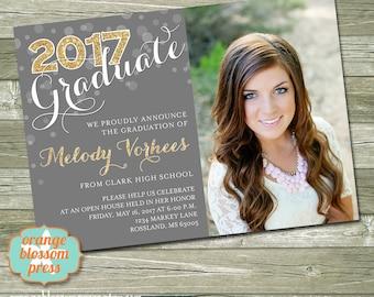 Glitter Graduation Announcement, Custom Photo Graduation Invitation, Glitter Graduation, Modern Graduation, Multiple Photos