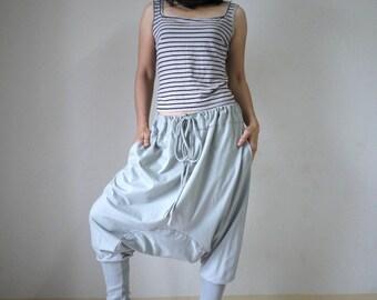 Gray Cotton Jersey Funky Drop Crotch Harem Ninja Yoga Unisex Pants Trousers With Adjustable Drawstring Waist