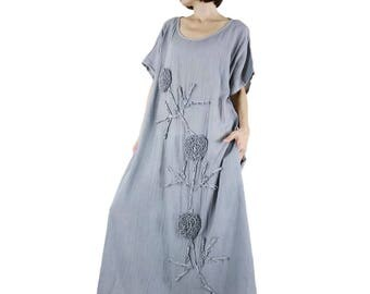 Bohemian Handmade Curved Hem Scoop Neck Blueish Grey Light Cotton Kaftan Dress With Flaoral Applique Women Oversize Dress Sundress - SM705