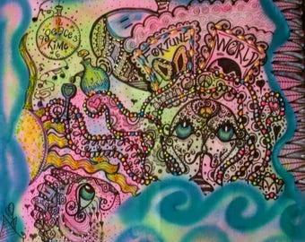 Hippie Art, Steampunk Art, Bohemian, Peace Love Art, Octopus, Absinthe, Beaded Art, Original Art, Dreaming In Steampunk