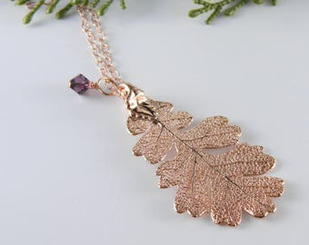 "Rose Gold Dipped Oak Leaf on 30"" chain"