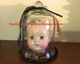 mIsFiTs Creepy Vintage Doll head in a glass cloche