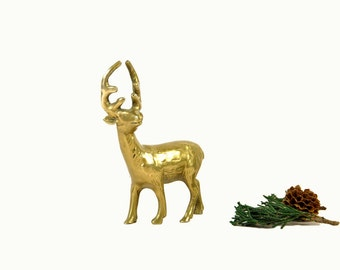 Brass Deer Figurine, Vintage Deer Christmas Decor, Small Brass Reindeer