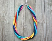 Statement necklace, colorful statement necklace, recycled necklace, COLORFUL jewelry, textile necklace, rainbow necklace