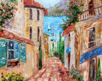 Lake Como painting original oil palette knife impressionism on canvas 24x20 fine art by Karen Tarlton