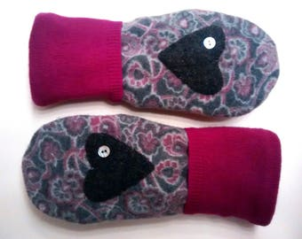Cozy Heart mittens, purple, gray, hot pink, mittens, recycled sweaters, women's mittens, fleece lined mittens