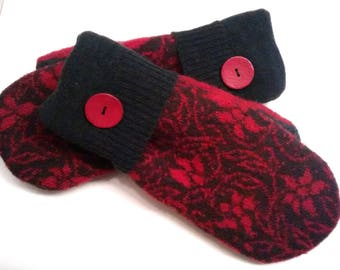 Red and charcoal gray medium mittens, recycled sweaters, women's mittens, fleece lined mittens, mittens with buttons