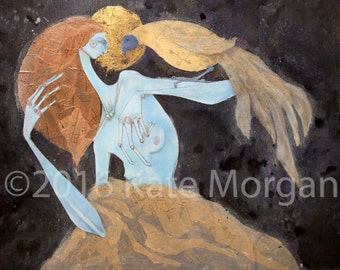 8x10 print mixed media woman with giant bird on her am surrounded by night