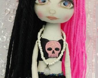 Siren AMATHEIA & her Starfish Gothic folk art Doll OOAK Dark Mermaid Emo collectable handmade goth tattered home decor