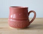 Punch Pink Floral Mug- Ready to ship