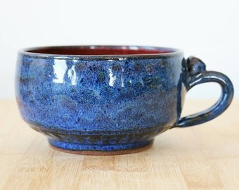 Cappuccino / wide latte style cup in Sapphire Nebulae- ready to ship