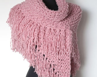 SALE - Pastel Pink Rose Color Chunky Yarn Knitted Fashion Women Shawl Wedding Wrap Stole with Fringes Tassels