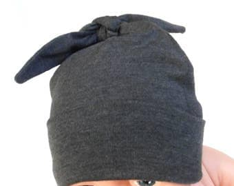 Beanie Baby Hat   Charcoal Grey Pull-On Baby Cap   Modern Dark Gray Top Knot Infant Hat    Newborn Babe Gray Hospital Homecoming Hat
