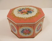 Vintage Floral Tin - Hexagonal Shape - Hinged Lid - Pink - Made in England -