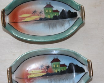 Scenic Salt Dips Hand Painted - Tiny Dish - Sushi Wasabi & Ginger