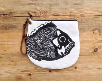 SALE Hand block printed Zipper pouch cosmetic bag with leather wristlet Snapper Fish