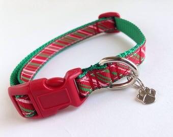 SMALL Christmas stripes Holiday Dog collar