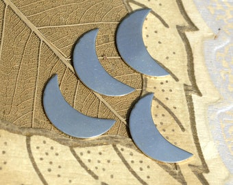 Crescent Moon Shape Blanks for Enameling Stamping Texturing Soldering Variety of Metals - 6 pieces