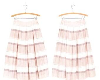 SALE Earthtone 80s Skirt * Vintage Striped Skirt * Full Midi Skirt * XS Small