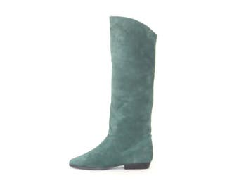 Tall Suede Boots * Vintage 80s Boho Boot * Green Riding Boots * size 8