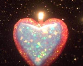 Layered Blue and Pink Glow in the Dark Heart Pendant
