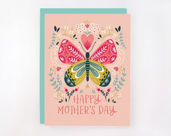 Happy Mother's Day - Butterfly and Flowers