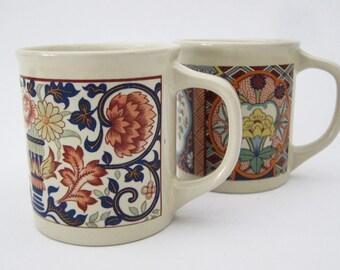 Vintage Floral Asian-Inspired Ceramic Antique Coffee Mug // SET OF 2