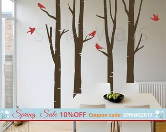 Birch Trees Wall Decal Winter Trees Wall Decal Birds GIFT BIRDS Vinyl Wall Decal, Wall Art decor, Tree Wall Decals, Nursery Children decor