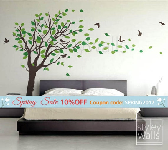 Tree decal Wall Sticker Tree with Birds and leaves blowing in the Wind - EXTRA LARGE Vinyl Wall Decal Sticker Nursery Kids Baby Children
