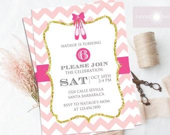Ballerina Invitation, Birthday Invitation, Printable Birthday Invite, Pink Glitter Ballerina Invite, Chevron, Birthday Party, jadorepaperie