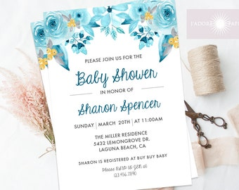 Floral Baby Shower Invitation, Floral Baby Shower Invite, Printable Baby Shower Invitation, Aqua, Yellow, Teal, Watercolor, jadorepaperie