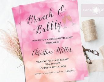 Brunch and Bubbly Invite, Bachelorette Invitation, Hens Party Invite, Bokeh, Pink, Printable Invite, jadorepaperie