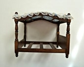 "Vintage Wooden Doll Bed Fabric+Lace Canopy Turned Posts for 6"" Dolls"